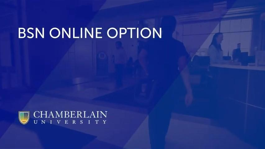 picture of hospital lobby with text overlay BSN online option