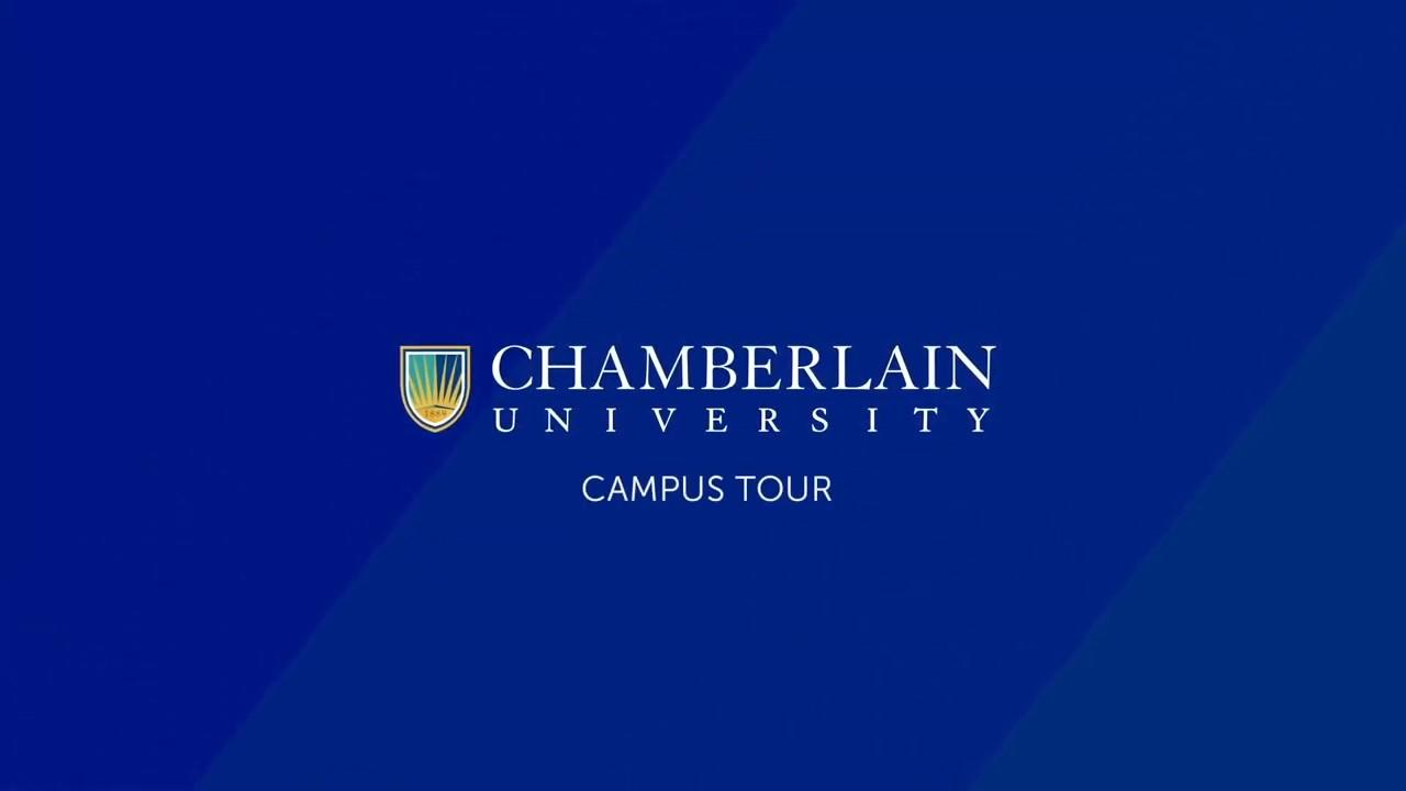 text of chamberlain university campus tour on blue screen