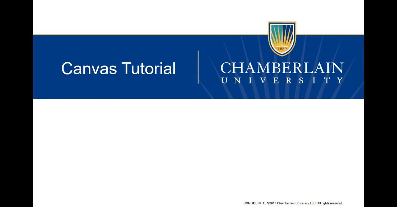 plain text banner reading Canvas Tutorial and Chamberlain University
