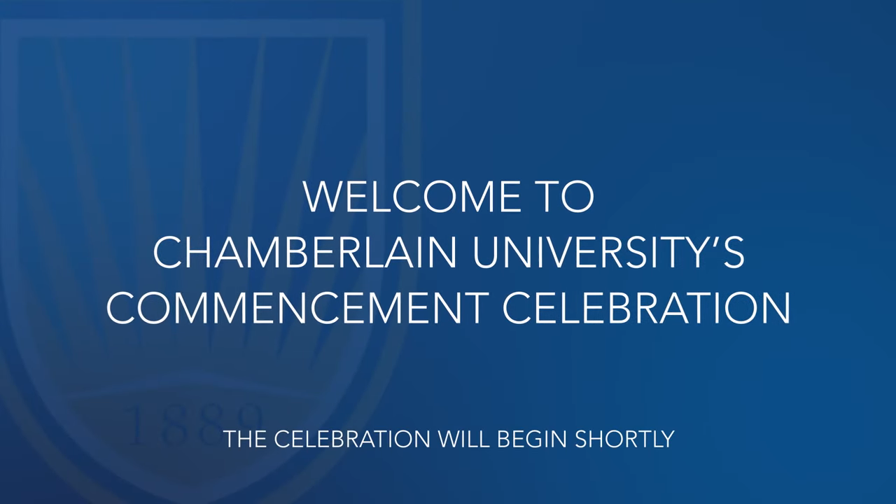 screen with ceremony welcome text