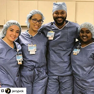 Instagram repost of Chamberlain nurses posing in scrubs