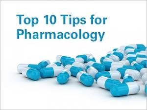 "Pile of pills and graphic text ""Top 10 Tips for Pharmacology"""