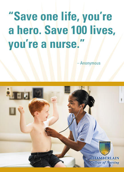 "Picture of nurse with a child and graphic text ""Save one life, you're a hero. Save 100 lives, you're a nurse."" - Anonymous"