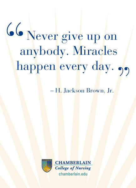 "Graphic text of quote ""Never give up on anybody. Miracles happen every day."" - H. Jackson Brown, Jr."