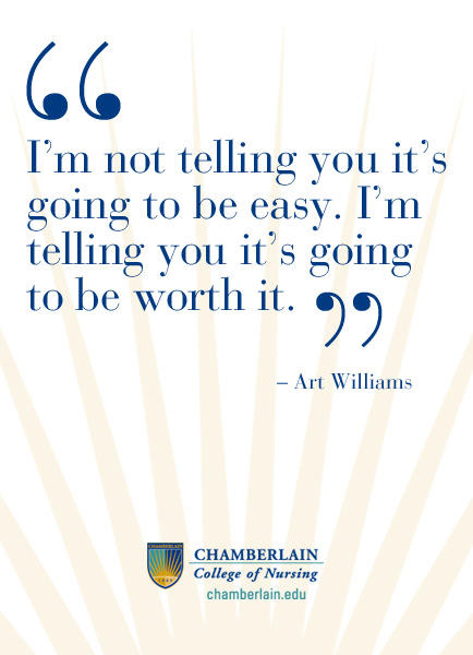"Graphic text of quote ""I'm not telling you it's going to be easy. I'm telling you it's going to be worth it."" - Art Williams"