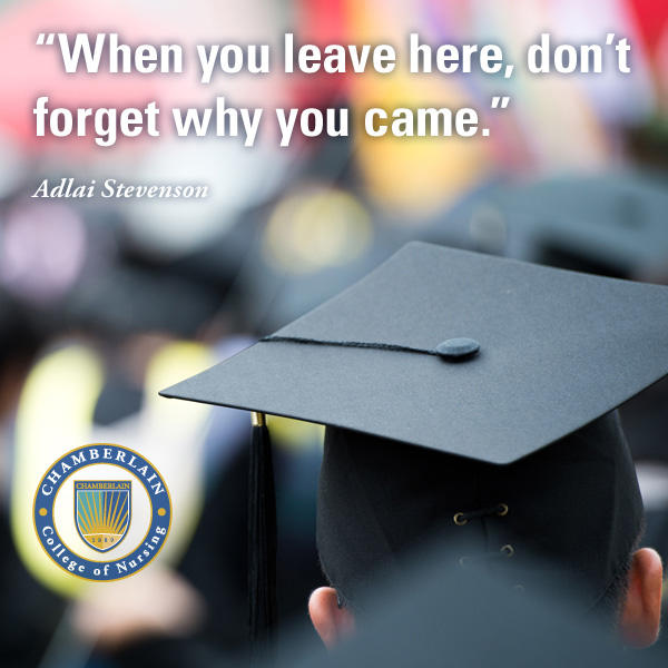 "Graduate wearing a cap and graphic text of quote ""When you leave here, don't forget why you came."" - Adlai Stevenson"