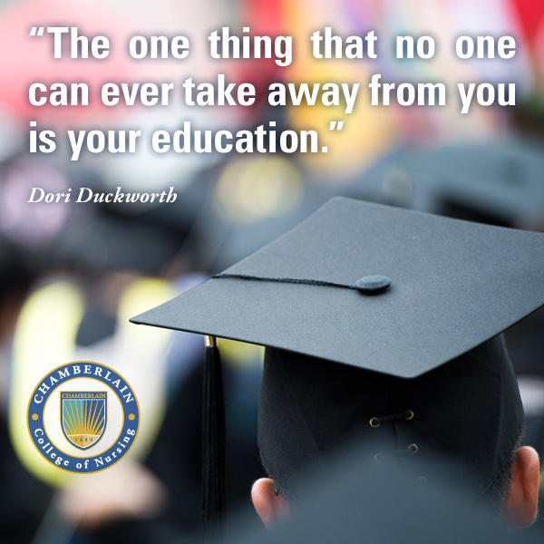 "Graduate wearing cap and graphic text of quote ""The one thing that no one can ever take away from you is your education."" - Dori Duckworth"