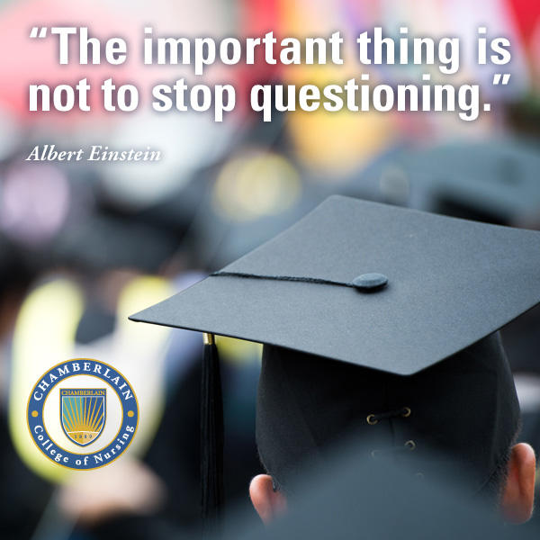 "Graduate wearing a cap with graphic text of quote ""The important thing is not to stop questioning."" - Albert Einstein"