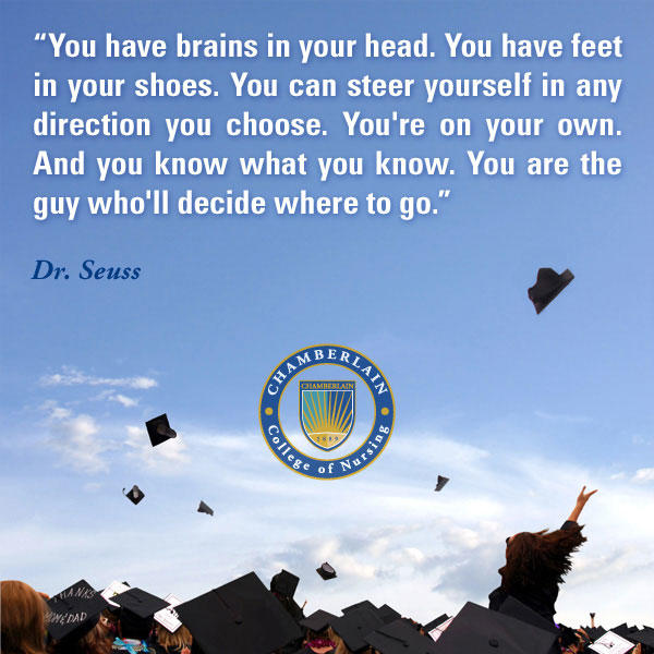 "Graduates throwing caps and graphic text with quote ""You have brains in your head. You have feet in your shoes. You can steer yourself in any direction you choose. You're on your own. And you know what you know. You are the guy who'll decide where to go."" - Dr. Seuss"