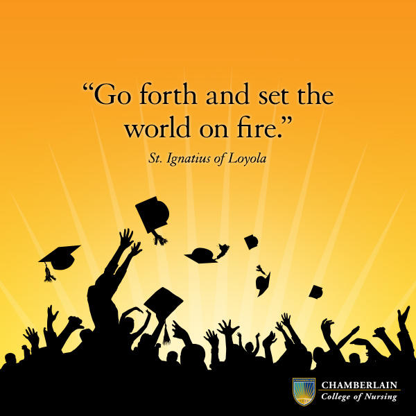 "Silhouettes of graduates throwing caps and graphic text of quote ""Go forth and set the world on fire."" - St. Ignatius of Loyola"