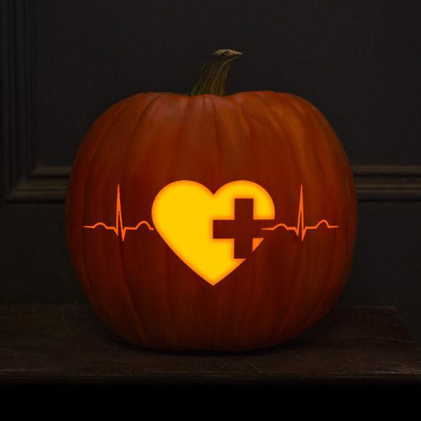 pumpkin with heart and heartbeat design
