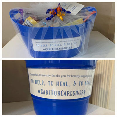 Chamberlain University care packages for caregivers #CareForCaregivers