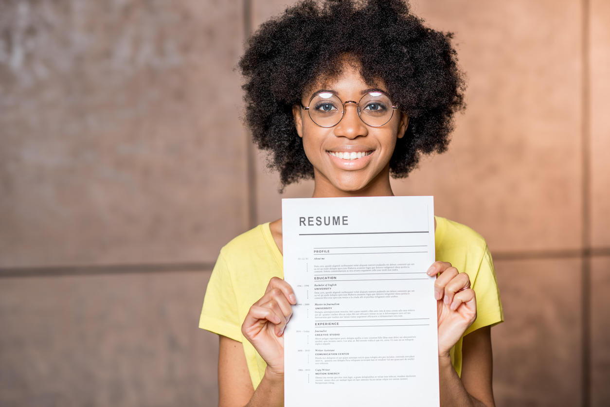 girl holding resume